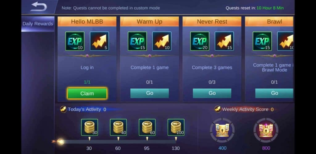 MLBB Daily Rewards